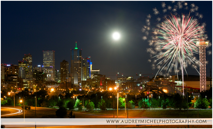 view of Denver skyline, fireworks, night photography, AudreyMichel Photography, Denver Fine Art Photographer