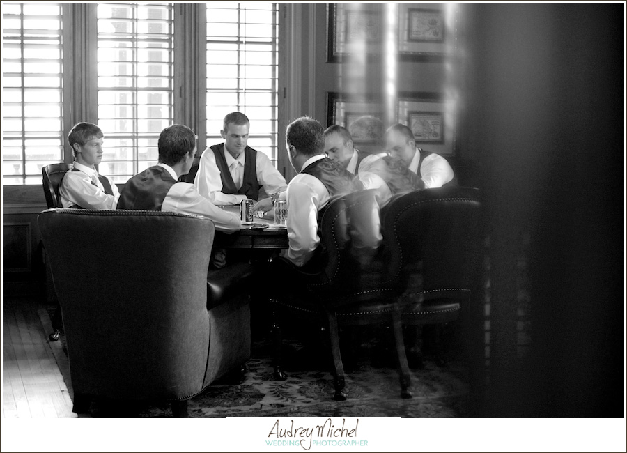 Groomsmen hanging out, black and white, groom playing poker, Highlands Ranch Mansion